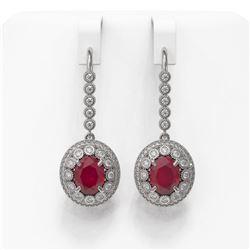 9.25 ctw Certified Ruby & Diamond Victorian Earrings 14K White Gold