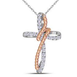 10kt Two-tone Gold Round Diamond Rope Cross Pendant 1/5 Cttw