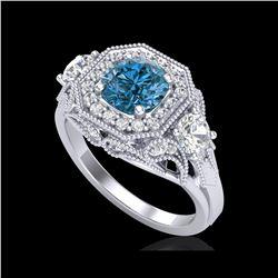 2.11 ctw Intense Blue Diamond Art Deco 3 Stone Ring 18K White Gold