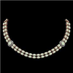 30.05 ctw Opal & Diamond Necklace 14K Rose Gold