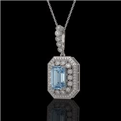 5.66 ctw Aquamarine & Diamond Victorian Necklace 14K White Gold