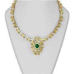 13.71 ctw Emerald & Diamond Necklace 18K Yellow Gold