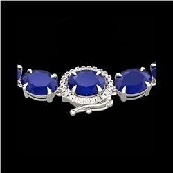 92 ctw Sapphire & VS/SI Diamond Micro Pave Necklace 14K White Gold