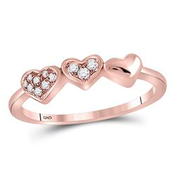 14kt Rose Gold Round Diamond Triple Heart Band Ring 5/8 Cttw
