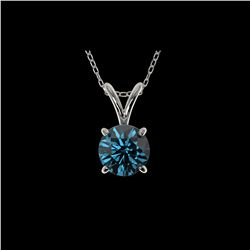 .78 ctw Certified Intense Blue Diamond Necklace 10K White Gold