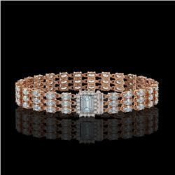 21.86 ctw Aquamarine & Diamond Bracelet 14K Rose Gold