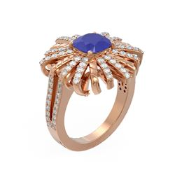 3.23 ctw Sapphire & Diamond Ring 18K Rose Gold