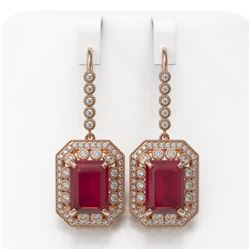 23.79 ctw Certified Ruby & Diamond Victorian Earrings 14K Rose Gold