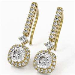 2.4 ctw Cushion Cut Diamond Designer Earrings 18K Yellow Gold