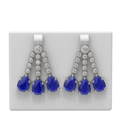 24.78 ctw Sapphire & Diamond Earrings 18K White Gold