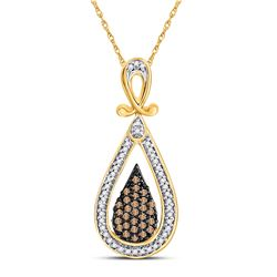 10kt Yellow Gold Round Brown Diamond Teardrop Cluster Pendant 1/4 Cttw