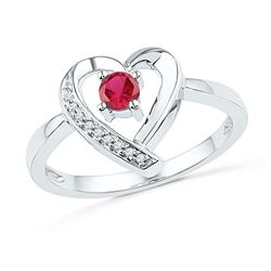 10kt White Gold Round Lab-Created Ruby Heart Ring 1/4 Cttw