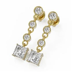 3 ctw Princess Cut Diamond Earrings 18K Yellow Gold
