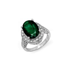 6.50 ctw Emerald & Diamond Ring 14K White Gold