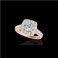 2.5 ctw Certified Diamond Solitaire Halo Ring 10K Rose Gold