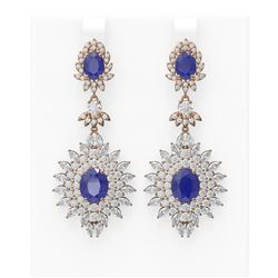 21.25 ctw Sapphire & Diamond Earrings 18K Rose Gold