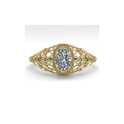 .50 ctw VS/SI Oval Diamond Engagement Ring Art Deco 18K Yellow Gold