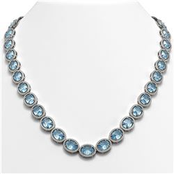 68.17 ctw Sky Topaz & Diamond Micro Pave Halo Necklace 10K White Gold