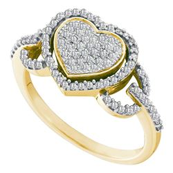 10kt Yellow Gold Round Diamond Heart Frame Cluster Ring 1/3 Cttw