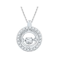 10kt White Gold Round Diamond Circle Moving Twinkle Pendant 1/4 Cttw