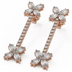4.42 ctw Marquise Diamond Designer Earrings 18K Rose Gold