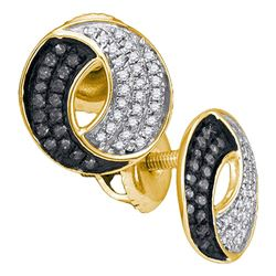 10kt Yellow Gold Round Black Color Enhanced Diamond Circle Cluster Earrings 1/5 Cttw