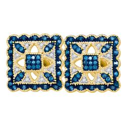 10kt Yellow Gold Round Blue Color Enhanced Diamond Square Cluster Earrings 1/4 Cttw