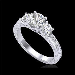 1.41 ctw VS/SI Diamond Solitaire Art Deco 3 Stone Ring 18K White Gold