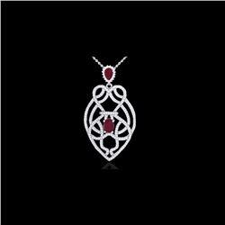 3.50 ctw Ruby & Micro VS/SI Diamond Heart Necklace 14K White Gold