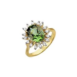 3.40 ctw Green Tourmaline & Diamond Ring 10K Yellow Gold