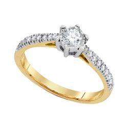 10k Yellow Gold Round Diamond Bridal Wedding Engagement Anniversary Ring 1/3 Cttw