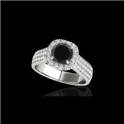 1.8 ctw Certified VS Black Diamond Solitaire Halo Ring 10K White Gold