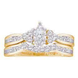14kt Yellow Gold Marquise Diamond Bridal Wedding Engagement Ring Band Set 1/2 Cttw