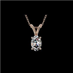 .50 ctw Certified VS/SI Quality Oval Diamond Necklace 10K Rose Gold