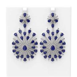 33.35 ctw Sapphire & Diamond Earrings 18K White Gold