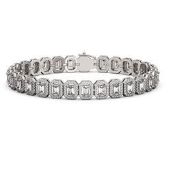 13.56 ctw Emerald Cut Diamond Micro Pave Bracelet 18K White Gold