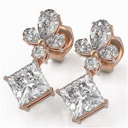 2.75 ctw Princess Cut Diamond Designer Earrings 18K Rose Gold