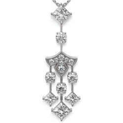 2.75 ctw Princess Cut Diamond Necklace 18K White Gold