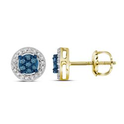 10k Yellow Gold Round Blue Color Enhanced Diamond Cluster Stud Screwback Earrings 1/4 Cttw