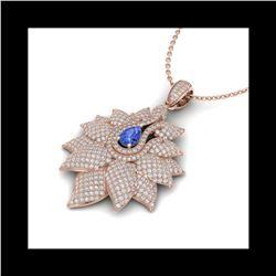 3 ctw Tanzanite & Micro Pave VS/SI Diamond Necklace 18K Rose Gold