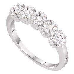 14kt White Gold Round Diamond Five Flower Cluster Ring 1/4 Cttw