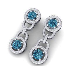 4 ctw SI/I Intense Blue Diamond Earrings 18K White Gold