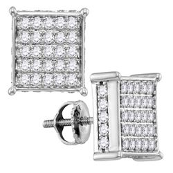 10kt White Gold Round Pave-set Diamond Square Cluster Earrings 1.00 Cttw