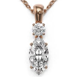 0.9 ctw Marquise Cut Diamond Designer Necklace 18K Rose Gold