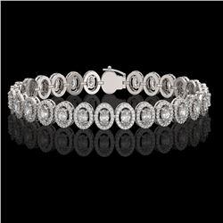 10.36 ctw Oval Cut Diamond Micro Pave Bracelet 18K White Gold