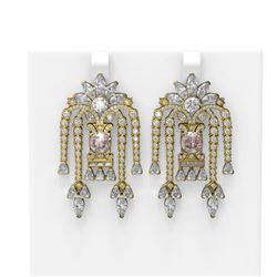 15.33 ctw Morganite & Diamond Earrings 18K Yellow Gold