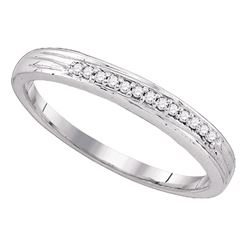 10k White Gold Round Pave-set Diamond Simple 2mm Wedding Band 1/6 Cttw