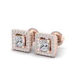 2.25 ctw Princess VS/SI Diamond Micro Pave Stud Earrings 18K Rose Gold