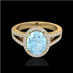 3 ctw Aquamarine & Micro VS/SI Diamond Halo Ring 18K Yellow Gold