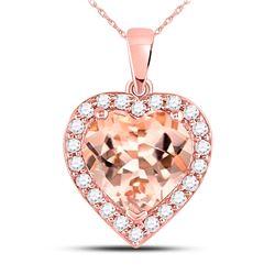 10kt Rose Gold Morganite Heart Diamond Pendant 2-1/4 Cttw